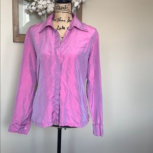 Express shimmer button up silk blouse